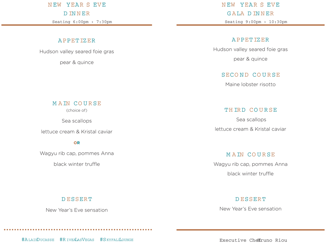 menus for early and late seating
